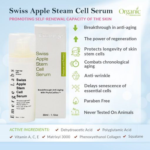 Emerge Labs Swiss Apple Stem Cell Serum and Anti-Aging Moisturizer for Face, Anti-Wrinkle Skin Care for Younger, Healthier Looking Skin - 1oz 2
