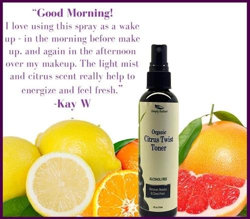 Organic Citrus Twist Facial Toner Mist w/Aloe Vera 2